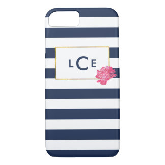 Navy Stripe & Pink Peony Monogram iPhone Case