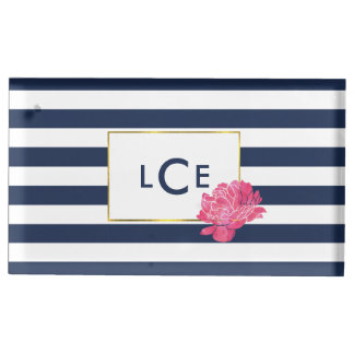 Navy Stripe & Pink Peony Monogram Table Card Stand