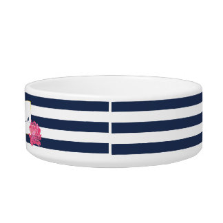 Navy Stripe & Pink Peony Personalized Pet Bowl