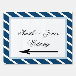 Navy Stripe with Floral Wedding Direction Sign