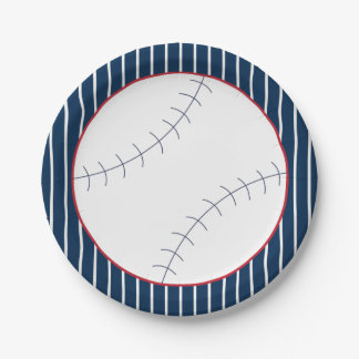 Navy Striped Baseball Paper Plate