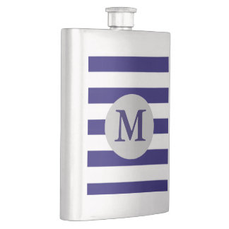 Navy Striped Initial Monogrammed Flasks