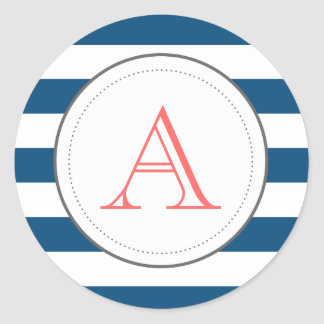 Navy Striped Mongram Sticker