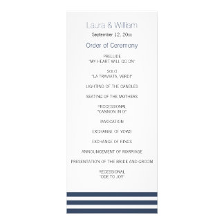 Navy Striped Wedding Program