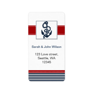 navy stripes, anchor, nautical wedding labels