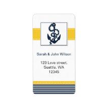 navy stripes,anchor, nautical wedding labels