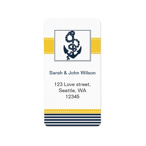navy stripes,anchor, nautical wedding labels