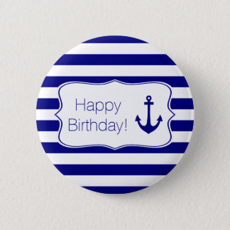 Navy Stripes and Nautical Anchor Birthday Party 2 Inch Round Button