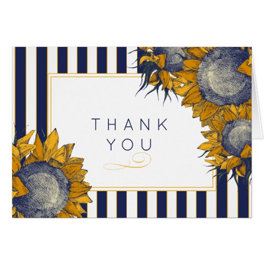 Navy Stripes and Sunflowers Thank You Card