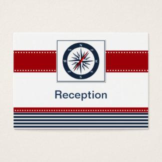 navy stripes,compass, nautical Reception cards