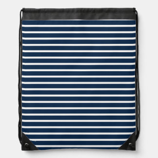 Navy Stripes Drawstring Bag