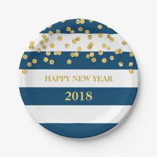 Navy Stripes Gold Confetti Happy New Year Plates