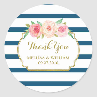 Navy Stripes Gold Pink Floral Wedding Favor Tags Round Sticker