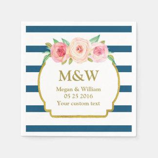 Navy Stripes Gold Pink Floral Wedding Napkins Paper Napkin