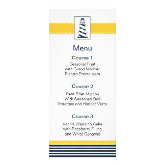 navy stripes,lighthouse, nautical menu cards rack card