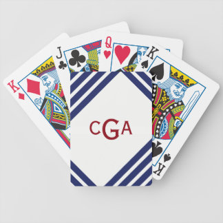 Navy Stripes Personalized Playing Cards