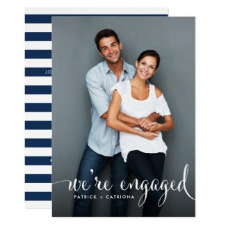 Navy Stripes | Photo Engagement Party Invitation