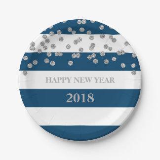 Navy Stripes Silver Confetti Happy New Year Plates
