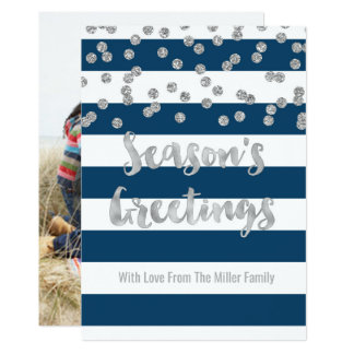 Navy Stripes Silver Confetti Season's Greetings Card