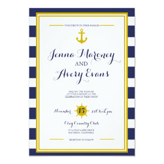 Navy Stripes w/ Anchor Nautical Wedding Invitation