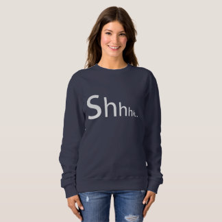 Navy Sweater with Shhhh Typography Graphic Design
