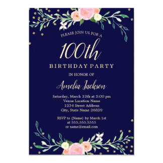 Navy Sweet Floral Sparkle Confetti 100th Birthday Card
