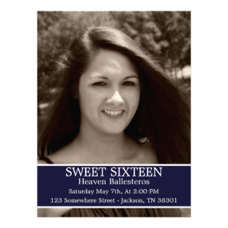 Navy Sweet Sixteen Birthday Invites 6 5 x 8 7