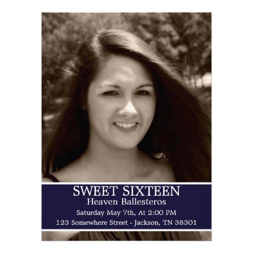 "Navy Sweet Sixteen Birthday Invites 6.5"" x 8.7"