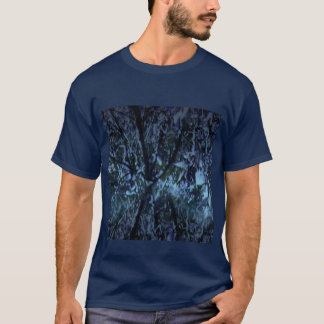 Navy T-Shirt with a Digital Green Rainforest Image