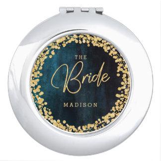 Navy Teal Watercolor & Gold Confetti Wedding Bride Mirror For Makeup