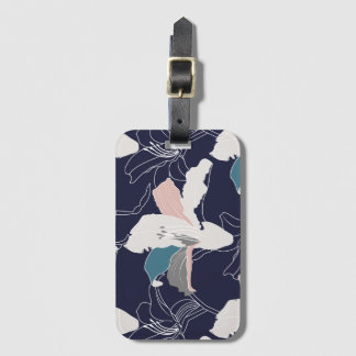 Navy Tropical Floral Luggage Tag