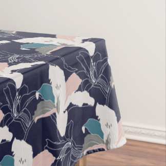 Navy Tropical Floral Tablecloth