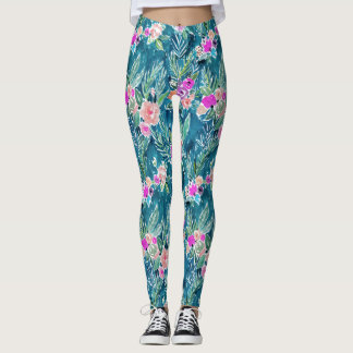 Navy Tropical Paradise Floral Leggings
