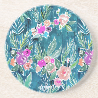 NAVY TROPICAL PARADISE Hawaiian Hibiscus Floral Coaster