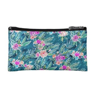 NAVY TROPICAL PARADISE Hawaiian Hibiscus Floral Makeup Bag