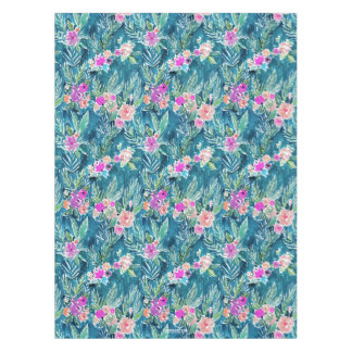 NAVY TROPICAL PARADISE Hawaiian Hibiscus Floral Tablecloth