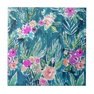 NAVY TROPICAL PARADISE Hawaiian Hibiscus Floral Tile