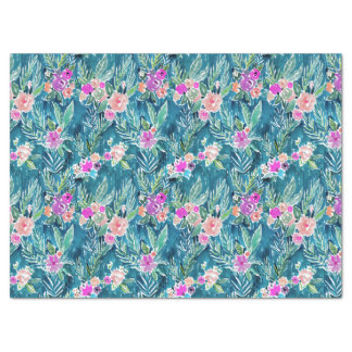 NAVY TROPICAL PARADISE Hawaiian Hibiscus Floral Tissue Paper
