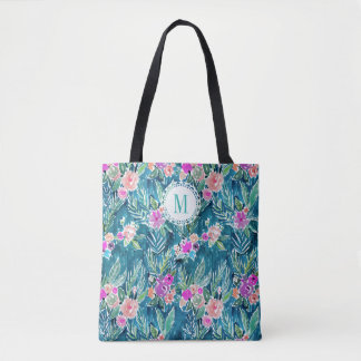 NAVY TROPICAL PARADISE Hawaiian Hibiscus Floral Tote Bag