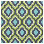 Navy Turquoise and Green Ikat Moroccan Fabric