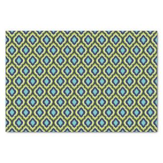 Navy Turquoise and Green Ikat Moroccan Tissue Paper