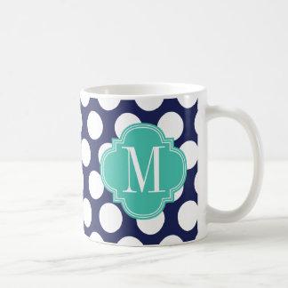 Navy & Turquoise Big Polka Dots Monogrammed Coffee Mug