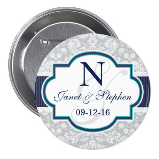 Navy, Turquoise, Gray Damask Wedding 3 Inch Round Button