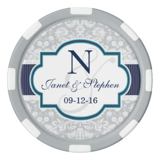 Navy, Turquoise, Gray Damask Wedding Poker Chips