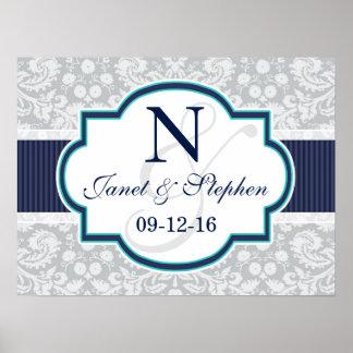 Navy, Turquoise, Grey Damask Wedding Poster