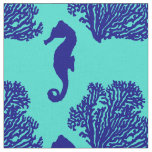 Navy Turquoise Seahorse Coastal Pattern Fabric