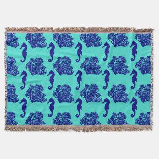 Navy Turquoise Seahorse Coastal Pattern Throw