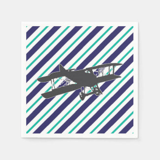 Navy Turquoise Vintage Biplane Airplane Napkins Paper Napkins