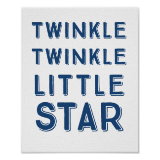 Navy Twinkle Twinkle Little Star | Nursery Art Poster