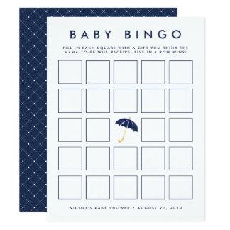 Navy Umbrella | Baby Shower Bingo Game Card